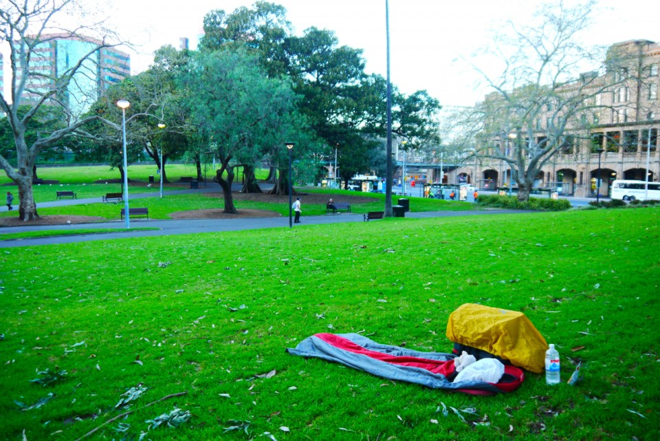 03 sleeping in park Sydney